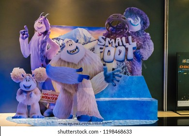 """KUALA LUMPUR, MALAYSIA - SEPTEMBER 29, 2018: Smallfoot movie poster. This is 3d animation movie about  Yeti is convinced that the elusive creatures known as """"humans"""" really do exist."""