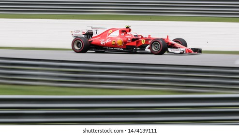 KUALA LUMPUR, MALAYSIA - SEPTEMBER 29, 2017 : Kimi Raikkonen of Finland driving the (7) Scuderia Ferrari SF70H on track during practice for the Malaysia Formula One Grand Prix at Sepang Circuit