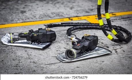 KUALA LUMPUR, MALAYSIA - SEPTEMBER 29, 2017 : Wrench gun for Formula One (F1).