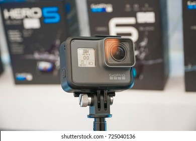 KUALA LUMPUR, MALAYSIA - SEPTEMBER 29, 2017: GoPro HERO 6 product launch. The camera is Waterproof up to 10 m, supports 4k HEVC video recording up to 60 fps and 1080p up to 240fps