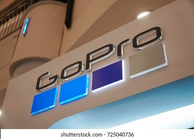 KUALA LUMPUR, MALAYSIA - SEPTEMBER 29, 2017: GoPro logo during product launch. GoPro, Inc. is an American technology company founded in 2002 by Nick Woodman