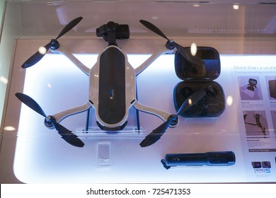KUALA LUMPUR, MALAYSIA - SEPTEMBER 29, 2017: GoPro Karma drone. GoPro launched the highly anticipated Karma Drone for $799, which includes the Drone, controller, stabilizer, Karma Grip, and case.