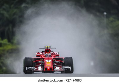 KUALA LUMPUR, MALAYSIA - SEPTEMBER 29, 2017 : Kimi Raikkonen of Finland driving the (7) Scuderia Ferrari SF70H on track during practice for the Malaysia Formula One Grand Prix at Sepang Circuit.