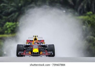 KUALA LUMPUR, MALAYSIA - SEPTEMBER 29, 2017 : Max Verstappen of the Netherlands driving the Red Bull Racing Team on track during practice for the Malaysia Formula One Grand Prix at Sepang Circuit.