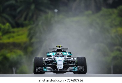 KUALA LUMPUR, MALAYSIA - SEPTEMBER 29, 2017 : Valtteri Bottas of Finland driving Mercedes AMG Petronas F1 Team Mercedes F on track during Malaysia Formula One Grand Prix at Sepang Circuit.