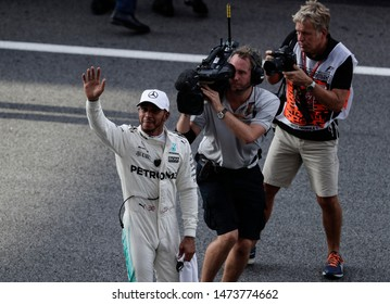 KUALA LUMPUR, MALAYSIA - SEPTEMBER 30, 2017 : Pole position qualifier Lewis Hamilton of Great Britain and Mercedes GP during qualifying for the Malaysia Formula One Grand Prix at Sepang Circuit
