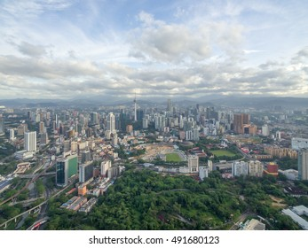 Kuala Lumpur, Malaysia - September 30, 2016: Aerial view of Kuala Lumpur downtown with famous landmark and skyscrapers.