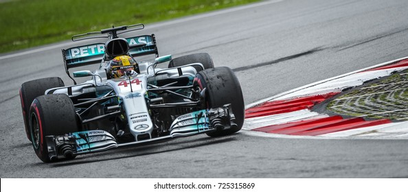 KUALA LUMPUR, MALAYSIA - SEPTEMBER 30, 2017 : Lewis Hamilton of Great Britain Mercedes AMG Petronas F1 Team on track during qualifying for the Malaysia Formula One Grand Prix at Sepang Circuit