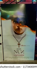 KUALA LUMPUR, MALAYSIA - SEPTEMBER 5, 2018: The Nun movie poster, this movie is about a demonic nun called Valak