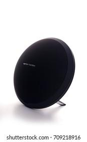 Kuala Lumpur, Malaysia - September 5, 2017: Picture of Harman Kardon Onyx Studio Wireless Bluetooth Speaker on white background