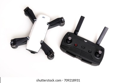 Kuala Lumpur, Malaysia - September 5, 2017: Picture of the latest DJI Spark and remote controller on white background