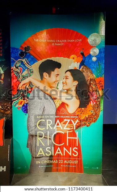 KUALA LUMPUR, MALAYSIA - SEPTEMBER 5, 2018: Crazy Rich Asians movie poster, this contemporary romantic comedy directed by Jon M. Chu