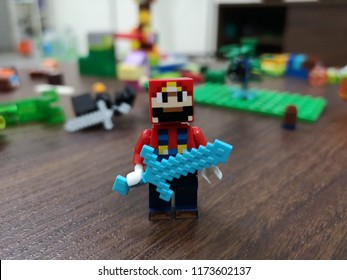 Kuala Lumpur , Malaysia - September 8, 2018: Minecraft toy minifigures at home. Minecraft is a video game created by game designer Markus Persson, better known as Notch. Illustrative editorial.