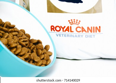 KUALA LUMPUR, MALAYSIA - SEPTEMBER 8, 2017 : Royal Canin is healthy and premium kibbles for pets isolated on white Background