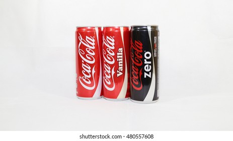 KUALA LUMPUR, MALAYSIA - SEPTEMBER 8th, 2016.Various type of Coca Cola drinks. Coca Cola drinks are produced and manufactured by The Coca-Cola Company, an American multinational beverage corporation.
