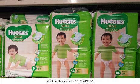 Kuala Lumpur / Malaysia - September 9 2018: Huggies in grocery store