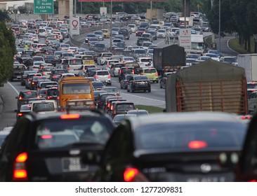 Kuala Lumpur- Malaysia,07 January 2019- Traffic congestion at peak times people get home from work.