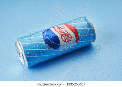 kuala lumpur malaysia,10th march 2019 retro style of can drink design with water drop on the blue background