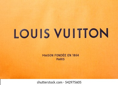 kuala lumpur, malaysia,19th Dec 2016,close up of the logo on the paper bag ,Louis Vuitton is a designer fashion brand known for its leather goods