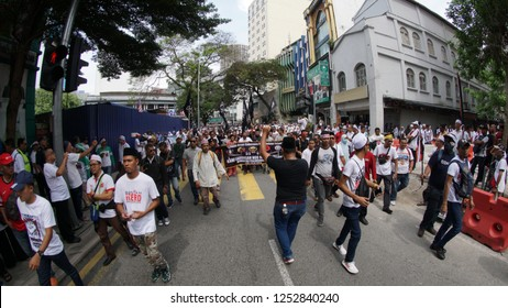 KUALA LUMPUR, MALAYSIA-DEC 8, 2018: Thousands of protesters are heading to Dataran Merdeka to protest against International Convention on the Elimination of all Forms of Discrimination (ICERD)