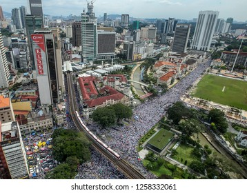 KUALA LUMPUR, MALAYSIA-DEC 8, 2018: Aerial view of thousands protesters heading to Dataran Merdeka to protest against International Convention on the Elimination of all Forms of Discrimination (ICERD)