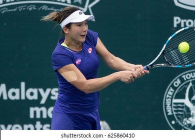 KUALA LUMPUR, MALAYSIA-MARCH 3:Kai-Lin Zhang of China returns a ball during Day 5 of ALYA WTA Malaysian Open on March 3, 2017 at TPC in Kuala Lumpur, Malaysia