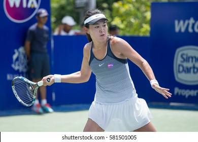 KUALA LUMPUR, MALAYSIA-MARCH 4:Lin Zhu of China returns a ball during Day 5 of BMW Malaysian Open on March 4, 2016 at KLGCC in Kuala Lumpur, Malaysia