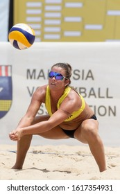 KUALA LUMPUR, MALAYSIA-MAY 01: Brooke Sweat of USA in action during Day 1 of FIVB Port Dickson Beach Open on May 01, 2019 at Port Dickson in Kuala Lumpur, Malaysia