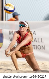 KUALA LUMPUR, MALAYSIA-MAY 02: Aleksandra Wachowicz of Poland in action during Day 2 of FIVB Port Dickson Beach Open on May 02, 2019 at Port Dickson in Kuala Lumpur, Malaysia