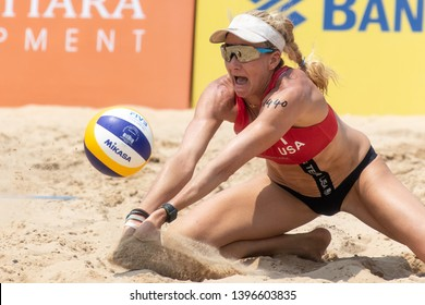 KUALA LUMPUR, MALAYSIA-MAY 04: Kerri Walsh Jennings of USA in action during gold medal match on Day 4 of FIVB Port Dickson Beach Open on May 04, 2019 at Port Dickson in Kuala Lumpur, Malaysia