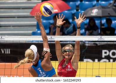 KUALA LUMPUR, MALAYSIA-MAY 04: Kerri Walsh Jennings (red) of USA in action during Day 4 of FIVB Port Dickson Beach Open on May 04, 2019 at Port Dickson in Kuala Lumpur, Malaysia