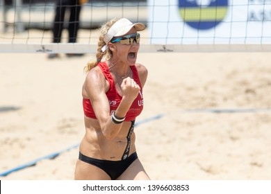 KUALA LUMPUR, MALAYSIA-MAY 04:Kerri Walsh Jennings of USA in action during the gold medal match on Day 4 of FIVB Port Dickson Beach Open on May 04, 2019 at Port Dickson in Kuala Lumpur, Malaysia