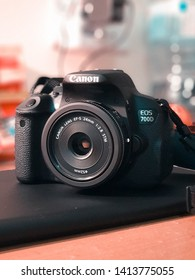 Kuala Lumpur, Malaysia-May 18, 2019: Picture of Canon EOS700D camera with Canon EF-S 24mm F/2.8 STM lens