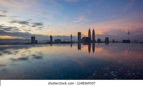 KUALA LUMPUR, MALAYSIA-Nov 28th 2018: Beautiful view of Kuala Lumpur City Centre view during sunrise or sunset with Petronas Twin Towers, TRX Tower and KL Tower as background.