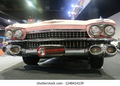 "Kuala Lumpur, Malaysia-November 1, 2018 : Cadillac De Ville 1959 classic car,The name ""DeVille"" is derived from the French de la ville or de ville meaning ""of the town"", displayed at KLIMS 2018 in KL."