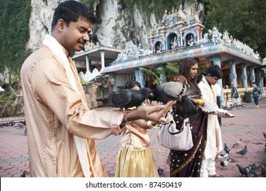 KUALA LUMPUR, MALAYSIA-OCT. 26: Devotees at Sri Subramaniar Swamy Temple, Batu Cave, Kuala Lumpur, Malaysia during celebration of Diwali on Wednesday, October 26, 2011.