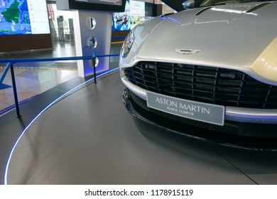 KUALA LUMPUR, MALAYSIA-SEPT 10, 2018: Aston Martin luxury car exhibited at KL International Airport, Malaysia. Aston Martin Lagonda Ltd is a British manufacturer of luxury sports cars and grand tours
