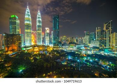 Kuala Lumpur, Malaysia.Twin Towers and KLCC Park.