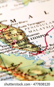 Jakarta indonesia on atlas world map stock photo 100 legal kuala lumpur malysia on atlas world map gumiabroncs Image collections
