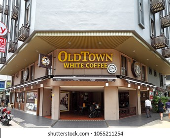 KUALA LUMPUR - MAR 19, 2018: Facade of Old Town White Coffee restaurant in Brickfields, KL. Old Town White Coffee is Malaysia largest halal certified restaurant chain founded in 1999.