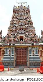 KUALA LUMPUR - MAR 19, 2018: Facade of the Sri Kandaswamy Kovil Hindu Temple in Jalan Scott, Brickfields, KL. The temple constructed in 1902 is the oldest Ceylon Tamil temple in Malaysia.