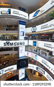 KUALA LUMPUR - MARCH 13, 2017: Samsung advertisement banners on each floor of Plaza Low Yat. Samsung Electronics is the worlds second largest information technology company by revenue, after Apple.