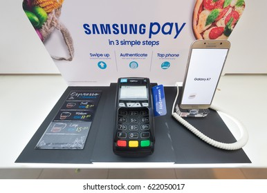 KUALA LUMPUR - MARCH 13, 2017: Samsung Pay advertisement in Low Yat Plaza. It is a mobile payment and digital wallet service by Samsung Electronics, was launched in South Korea in 2015.