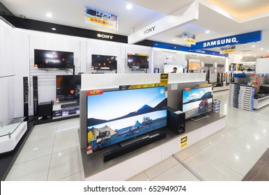KUALA LUMPUR - MARCH 13, 2017: Samsung and Sony TV screens in Plaza Low Yat. Low Yat Plaza (Malay: Plaza Low Yat) is a shopping mall specializing in electronics and IT products.