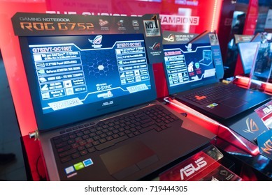 KUALA LUMPUR - MARCH 13, 2017: Gaming notebook Asus ROG G752 for sale in Plaza Low Yat mall. The shopping mall has a wide assortment of IT products.