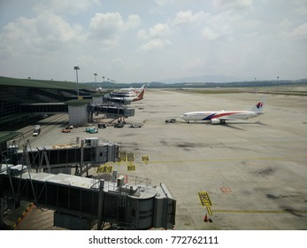 Kuala Lumpur - March 18 2017: Airplane taxing from the gate