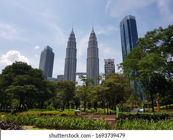 Kuala Lumpur - March 18, 2020: Empty KLCC park after Government of Malaysia has implemented a Movement Control Order through out the country as preventive measure toward COVID-19 pandemic