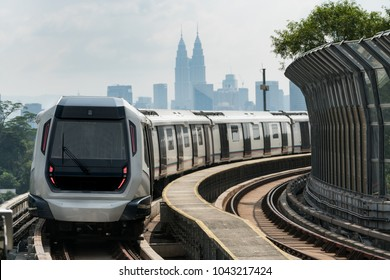 Kuala Lumpur Mass Rapid Transit (MRT) train approaching towards camera. MRT system forming the major component of the railway system in Kuala Lumpur, Malaysia.
