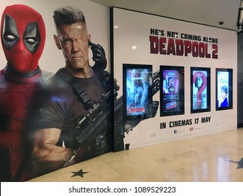 Kuala Lumpur -  May 13, 2018: Deadpool 2 poster is seen at TGV Cinema in KLCC Shopping Centre. This movie will be on cinemas on 17 May