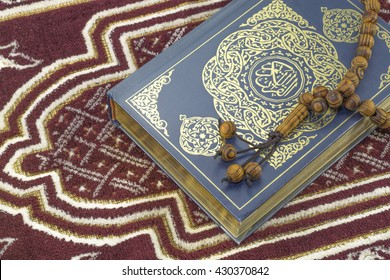 KUALA LUMPUR, May 2016: A close-up of The Holy Quran,Sajadah and Tasbih.